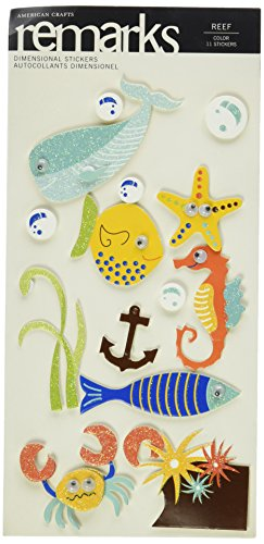 Remarks Stickers Dimensional (American Crafts Remarks Dimensional Sticker Sheet, Reef)