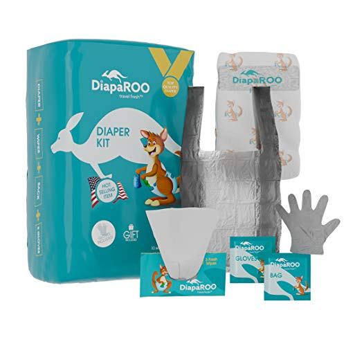 DiapaROO Diaper Changing Kit 10-Piece Diaper Set for Baby Newborn and Infant - Travel Nappy Change SetAbsorbent Diapers Scented Wet Wipes Gloves & Disposal Bag for Any Portable Changing Pad (2)