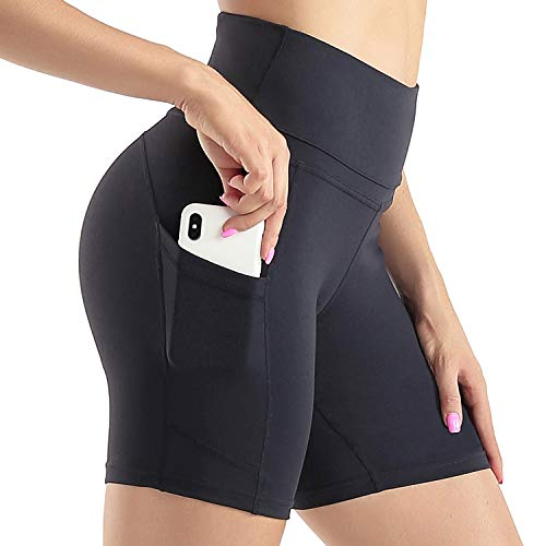Sunzel High Waist Yoga Shorts for Women Tummy Control Athletic Workout Shorts with Side Pockets Black XXL
