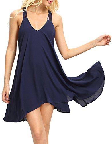 ROMWE Women's Summer Sexy Sleeveless Backless Swing Party Dress Navy M
