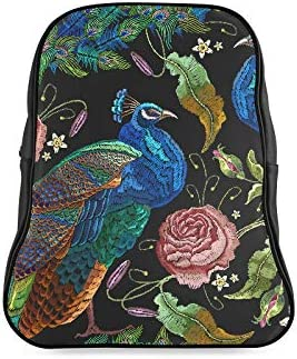 Embroidery Peacocks Flowers Peonies Stylish Backpack Daypacks For Girls Backpack Daypack Print Zipper Students Unisex Adult Teens Gift