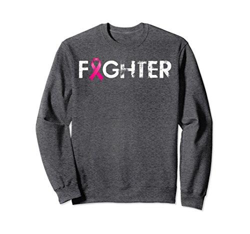 Unisex Fighter, Pink Ribbon Breast Cancer Awareness Sweater Medium Dark Heather ()