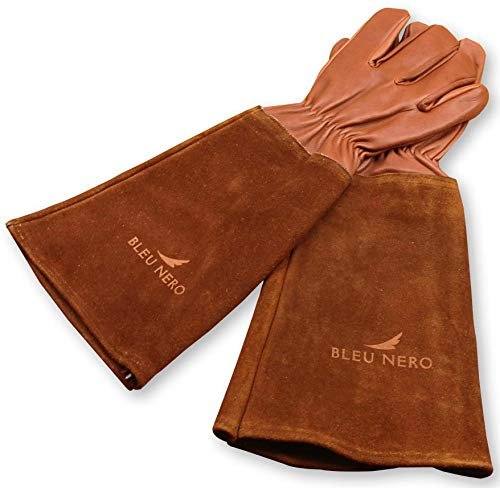 Rose Pruning Leather Gardening Gloves for Women and Men - Thorn Proof Goatskin Leather with Elbow Length Long Cowhide Gauntlet - For Rose Pruning, Cactus Cutting, Landscaping Work (L-XL, Brown)
