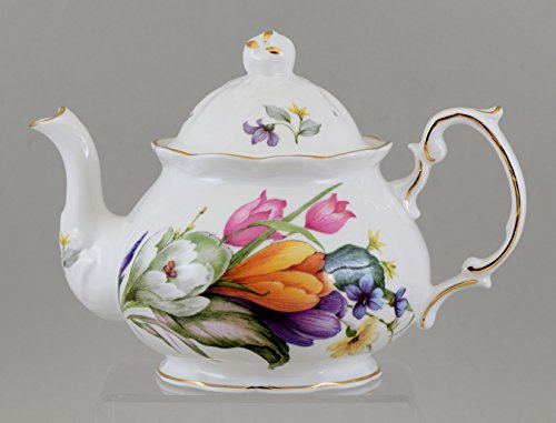 Fine English Bone China SPRING TIME 4 cup teapot (English Garden Teapot compare prices)