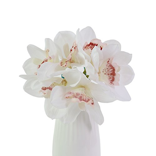 JAROWN 6 pcs Real Touch Flowers Artificial Cymbidium Orchid Bouquet for Kitchen Living Room -