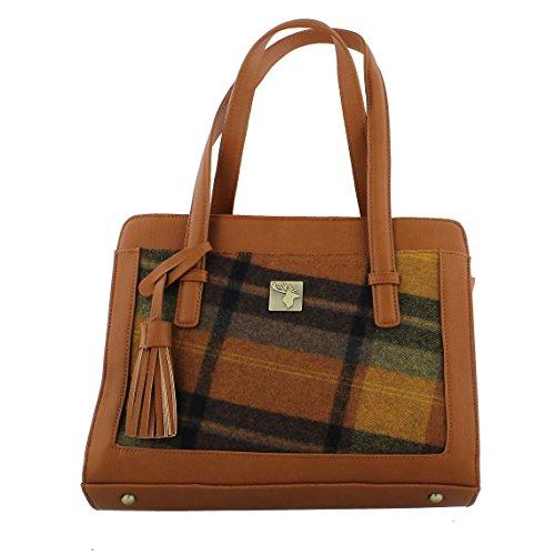'House of Tweed' Tassel Handbag Orange Tweed