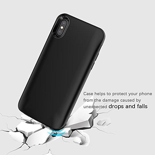 iPhone X Charger Case, Moonmini 3600mAh Custodia protettiva della copertura di sicurezza per il caricabatterie del Li-polimero esterno (nero)