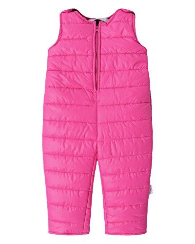 Down Snowsuit (Kidsform Infant Overall Bib Pants Zip Sleeveless Down Coat Snowsuit Outfits Outwear Rose 2-3Y)