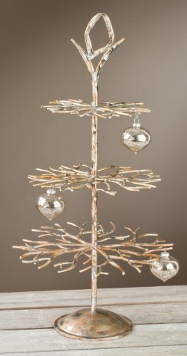 "3 Tier Designer Tree - Brushed Gold with Hand Applied Accents, 28"" Tall"