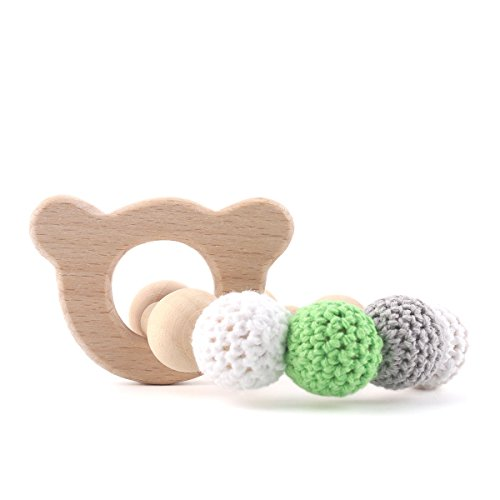 Teether Toy Wooden Teething Animals Teether for Molars Safe and Natural Soother Activity Shower Gift- Bear