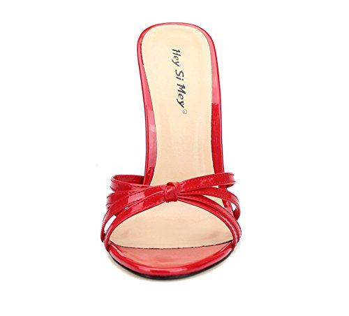 Estate Stiletto 49 Sbirciare Su Festa Piede Sandalo UK10 Red EUR42 Scivolare Donna Del Dito Tacco Scarpe Taglia Vestito Pantofole Nero Sandali Alto 40 Rosso P7vpq