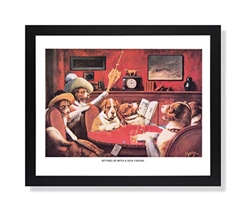 Solid Wood Black Framed Coolidge Dogs Playing Poker at Table Sitting Up with A Sicak Friend #2 Animal Pictures Art Print