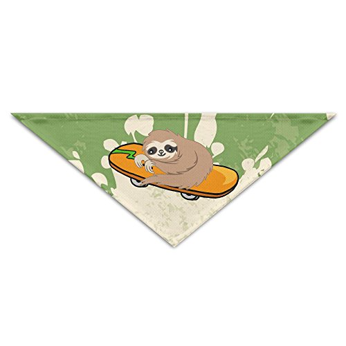 Cute Sloth Skating Skateboard Pet Puppy Dog Triangle Head Scarf Bandana Bibs Collars Neckerchief