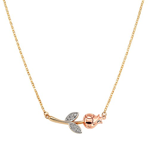 14k Solid Yellow and Rose Gold Rose Adjustable Necklace with CZ Accents for Women and Girls by Jewel Connection