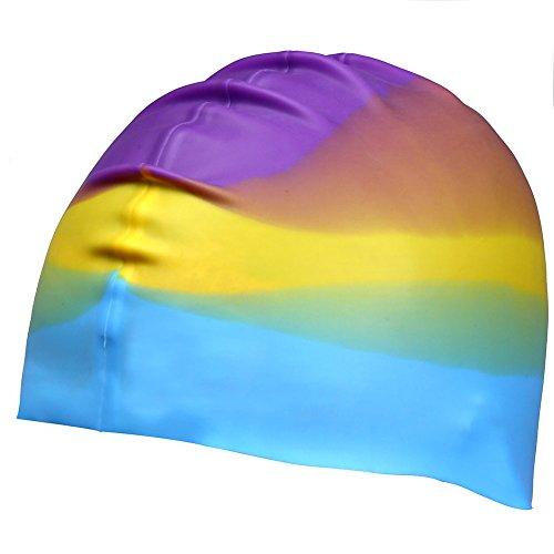 UKEE Silicone Swimming Cap 3D Silicone Design, Odorless, Non-Toxic, Silicone Elastic and Durable Swimming Cap For Adults and Men and Adults - Keep Hair Clean and Dry (Purple color) (Nemo Swim Cap)
