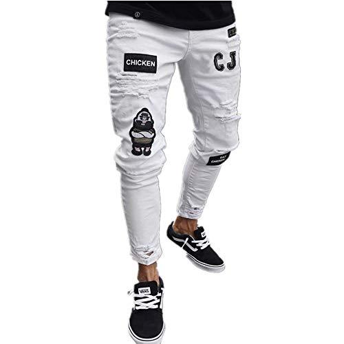 Blanc Jeans Droite Hommes Coupe Classique Toutes Tailles Standard Qseven Élégant Homme Jean aXP8xx