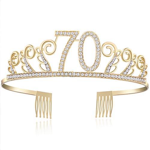BABEYOND Crystal Birthday Tiara Rhinestone Princess Crown Happy Birthday Crowns Silver Diamante Happy 18/20/21/30/40/50/60/90th Birthday (Gold-70th) ()