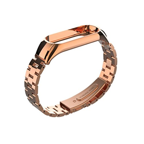 Price comparison product image Boofab ForXiaomi Mi Band 3 Accessories Bands,  Luxury Stainless Steel Watch Band Replacement Crystal Wrist Strap For Xiaomi Mi Band 3 (Rose Gold)