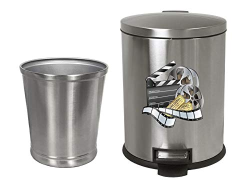 - NEW! 3.1 Gallon Oval Stainless Steel Step Trash Can Featuring Your Choice of a Novelty Themed Logo and an Additional Stainless Steel Round Waste Basket - FREE trash liners included! (Movie Reel)