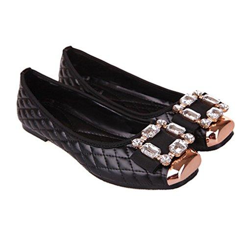 Giy Womens Mode Rhinestone Loafers Moccasin Stängd Tå Slip-on Klassiska Loafer Oxfordskor Balett Mattsvart