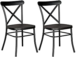 Ashley Furniture Signature Design Minnona Dining Side Chair Set Of 2 Cross Back Vintage Casual Style Antique Black Finished Metal