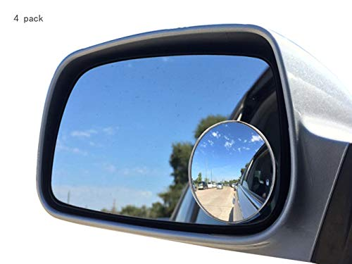 """Newest Upgrade Blind Spot Mirror, Ampper 2"""" Round HD Glass Convex Aluminum Frame Wide Angle Rear View Mirror For All Universal Vehicles Car Suv (Pack Of 4)"""