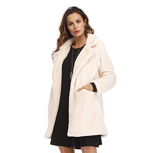 Zhuotop Faux Pelucheux Femmes Manteau De Veste Chaude Avec Des Poches Blanches