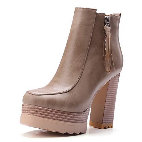 BalaMasa Womens Mule Platform High-Heels Khaki Urethane Boots ABL12051-9.5 B(M) US