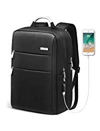 HOMIEE Laptop Backpack with USB Charging Port, Unisex Waterproof Business Travel Backpack for Commute and School with Metal Handle and Luggage Belt, Fits to 13-15 inch MacBook Pro and Laptop Notebooks