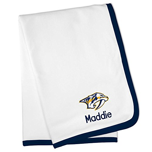 Personalized Nashville Predators Baby Blanket (Officially Licensed) Ultra Soft, Warm Comfort | Receiving Swaddle for Newborn Boy or Girl | Portable, Stroller Friendly