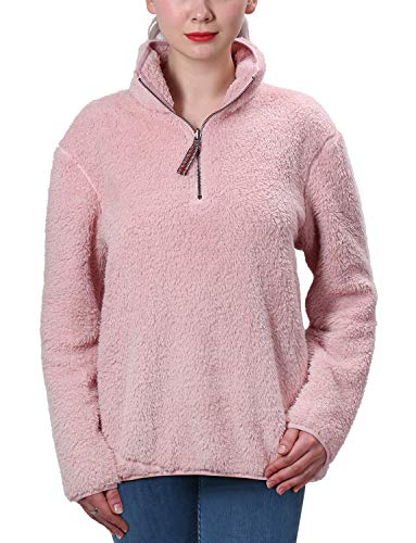 Zip Jacket Reversible 1/4 (Jjyee Fleece Sherpa Pullover Womens 1/4 Zip Fleece Fuzzy Sweatshirt Reversible Pullover Long Sleeve Soft Outwear Sweater (Pink,Small))