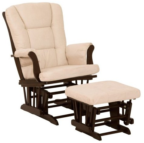 Stork Craft Tuscany Glider and Ottoman, Espresso/Beige