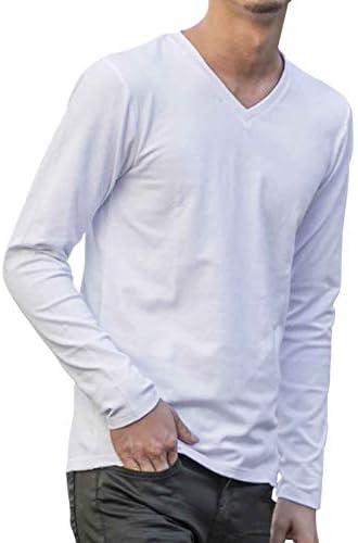 メンズ コートン モダール ベア 天竺 長袖V ネック ロング Tシャツ 02-61-9778