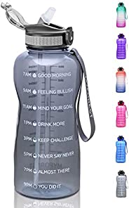 MYFOREST Half Gallon Water Bottle with Straw BPA Free, 74oz Tritan Drinking Bottles with Time Marker, 2.2L Dai