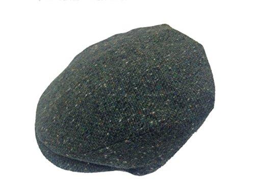 Hanna Hats Men's Donegal Tweed Vintage Cap Sea Green Salt & Pepper Large -