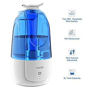 Ultrasonic Cool Mist Humidifiers, PLEMO Single Room Humidifierswith 3L Water Tank, Two 360 Degree Rotating Nozzles, 2 Speed Mist Settings, Waterless Auto Shut-off for Home, Office, Baby Room