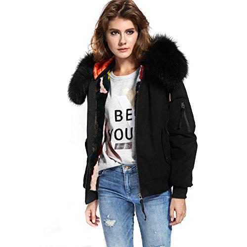 S.ROMZA Women Warm Hooded Bomber Jacket Real Fur Liner Detachable Fur Trim Short Coat (X-Large, Black)