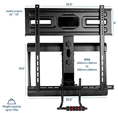 "VIVO Counterbalance Above Fireplace for LCD LED Plasma Screen 43"" to 70"" Height Adjustable Swivel Gas Spring TV Pull Down Mantel Wall Mount (MOUNT-VW70G)"