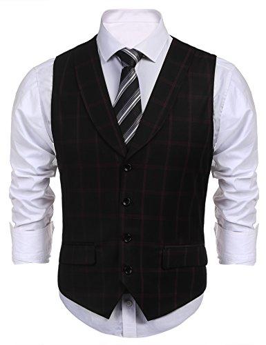 COOFANDY Men's Dress Suit layered Vest V Neck Plaid Patchwork Wedding Waistcoat (Small, Style-2-Black)