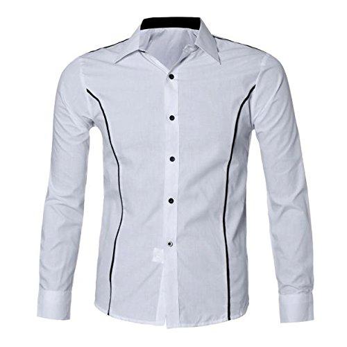 Blusa Hombre Manga Larga, Stand-Cuello Botón Moda Casual Slim Camiseta Top: Amazon.es: Ropa y accesorios