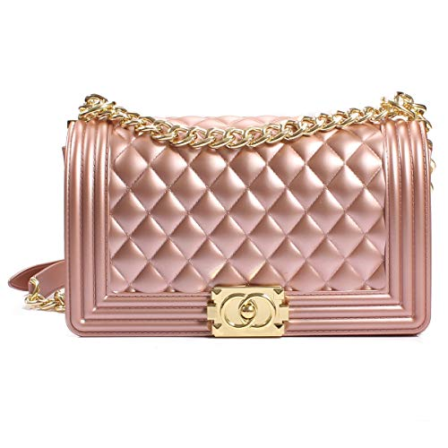 Poxas Women's Classic Crossbody Handbags Purse Shoulder Bags with Metal Chain (Small Pink/Gold Chain) (Quilted Chain Strap Handbag)