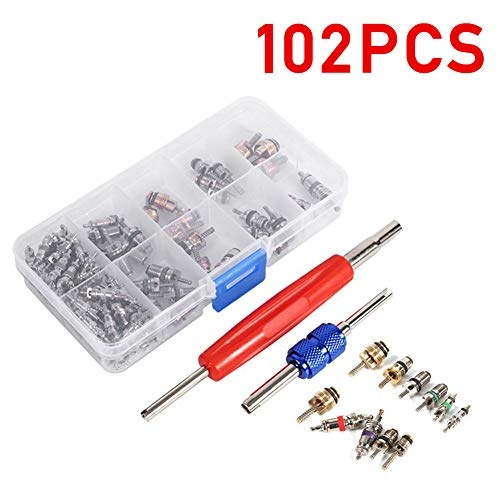 (102Pcs Air Conditioning Valve Core Accessories A/C R12 R134a Refrigeration Tire Valve Stem Cores Remover Tool Assortment Kit)