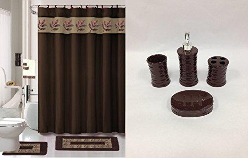 22 Piece Bath Accessory Set Chocolate Brown Bathroom Rug Set Shower Curtain Accessories