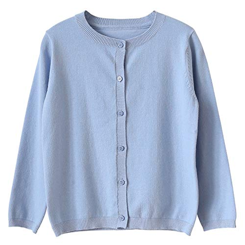 CUNYI Little Girl's Crewneck Button-up Cotton Cardigan Knit Sweater Casual Outerwear, Blue, 8~9 Years/140