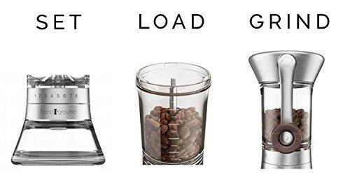 Handground Precision Coffee Grinder: Manual Ceramic Burr Mill - Brushed Nickel