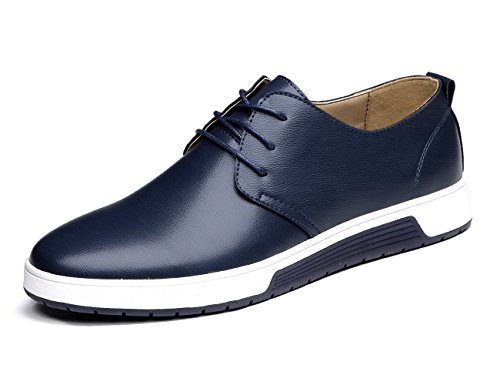 XMWEALTHY Men's British Style Comfortable Flat Dress Shoes Blue US 9.5