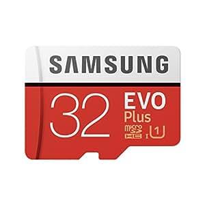 Samsung EVO Plus - Tarjeta de memoria microSD de 32 GB con adaptador SD, 95 MB/s, UHS1, color rojo y blanco