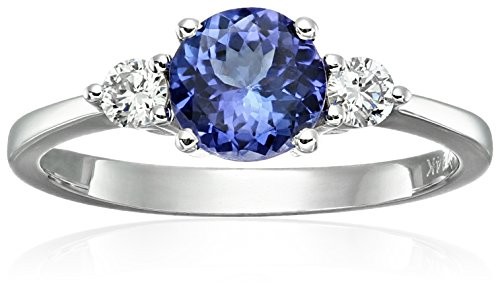 White Ring Tanzanite Jewelry Gold (14k White Gold AAA Tanzanite And Diamond 3-stone Engagement Ring (1/5cttw, H-I Color, SI2 Clarity), Size 7)