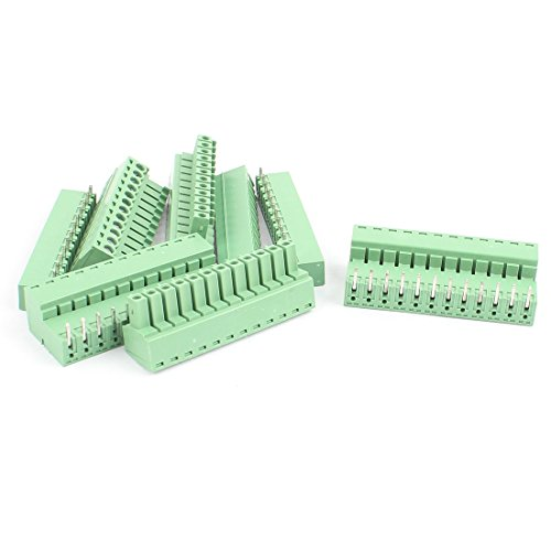 Uxcell a16031800ux2373 5 Pairs 3.81 mm Pitch 12Pin Male to Female PCB Pluggable Terminal Block Connector (Block 56g)