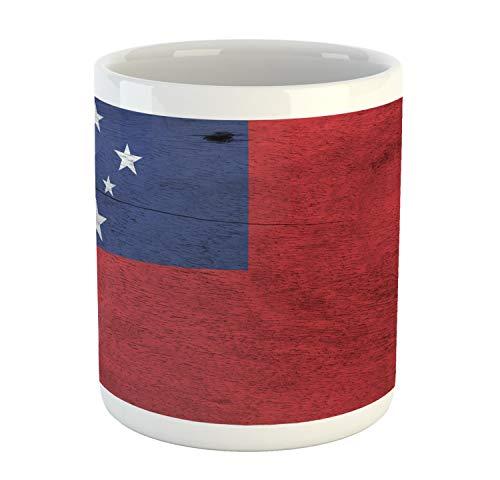 Lunarable Samoa Mug, Illustration of National Flag on Wooden Plate Effect Backdrop, Printed Ceramic Coffee Mug Water Tea Drinks Cup, Pale Maroon Dark Lavender White